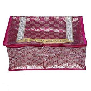 Kuber Industries Desigenr Saree Cover In Pink Designer Brocade Wedding Collection Gift Ki8088