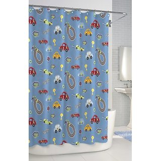Kassatex SCB-115-RTR-BLU Bambini Shower Curtain, Race Track