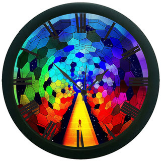AE World Colourful Abstract Wall Clock (With Glass)