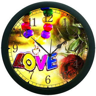 AE World Multi Colour Love Wall Clock (With Glass)