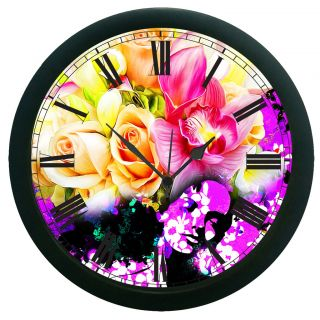 AE World Floral Wall Clock (With Glass)