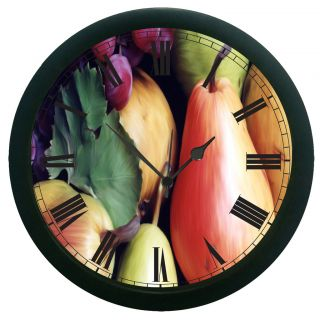 AE World Fruits Print Wall Clock (With Glass)