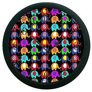 AE World Multi Colour Elephant Wall Clock (With Glass)
