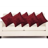 Deal Wala Set Of 5 Attractive Rose Design Cushion Cover-maroon