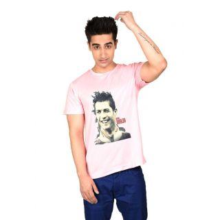 LetsFlaunt Pink Round Neck Half Sleeve  T-shirt