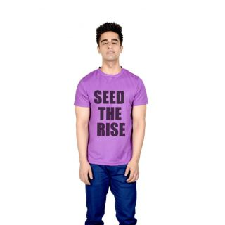 LetsFlaunt Purple Round Neck Half Sleeve  T-shirt