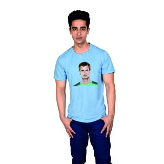 LetsFlaunt Blue Round Neck Half Sleeve  T-shirt