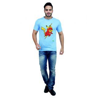 LetsFlaunt Blue Round Neck Half Sleeve  T-shirt