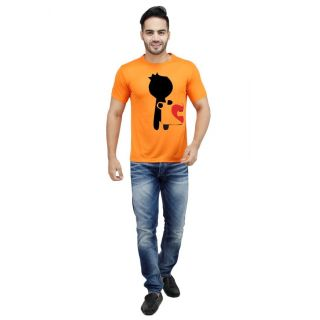 LetsFlaunt Orange Round Neck Half Sleeve  T-shirt