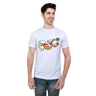 LetsFlaunt White Round Neck Half Sleeve  T-shirt