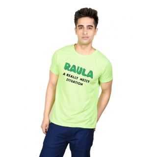 LetsFlaunt Green Round Neck Half Sleeve  T-shirt