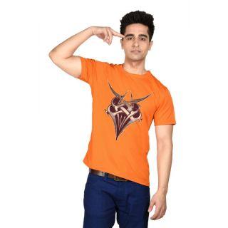 LetsFlaunt Orange Round Neck Half Sleeve  T-shirt