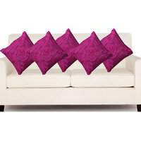 Deal Wala Set Of 5 Attractive Rose Design Cushion Cover-dark Purple