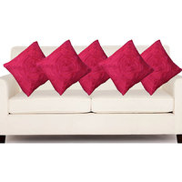 Deal Wala Set Of 5 Attractive Rose Design Cushion Cover-deep Pink