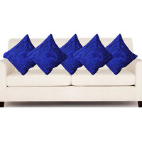 Deal Wala Set Of 5 Attractive Rose Design Cushion Cover-blue