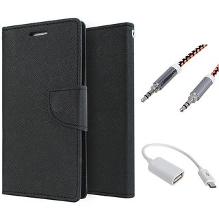 Wallet Flip case Cover For HTC Desire 626   (BLACK) With Micro Otg Cable + Metal Aux Cable- 1 Meter(colour may vary)