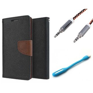 Wallet Flip case Cover For Reliance Lyf Wind 5  (BROWN) With Usb Light + Metal Aux Cable- 1 Meter(colour may vary)