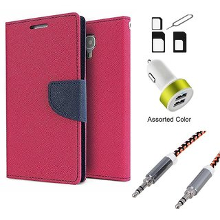 Wallet Flip case Cover For Reliance Lyf Wind 6  (PINK) With Noosy Sim Adapter + Car Adapter + Metal Aux Cable- 1 Meter(colour may vary)