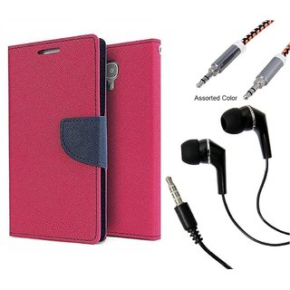 Wallet Flip case Cover For Lenovo A2010  (PINK) With Raag Earphone(3.5mm) + Metal Aux Cable- 1 Meter(colour may vary)