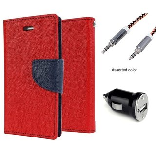 Wallet Flip case Cover For Lenovo A1000  (RED) With Car Adapter + Metal Aux Cable- 1 Meter(colour may vary)