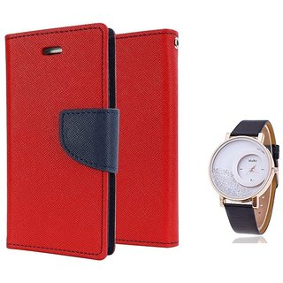 Wallet Flip case Cover For Lenovo A6000  (RED) With Moving Diamond  Women Watch