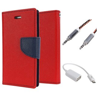 Wallet Flip case Cover For Samsung Galaxy S5 Mini  (RED) With Micro Otg Cable + Metal Aux Cable- 1 Meter(colour may vary)