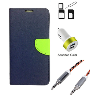 Wallet Flip case Cover For Micromax Bolt Q324  (BLUE) With Noosy Sim Adapter + 2 Port USB Car Adapter + Metal Aux Cable- 1 Meter(colour may vary)