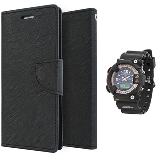 Wallet Flip case Cover For Micromax Bolt Q336  (BLACK) With Black Dial Analog-Digital Watch-S-SHOCK For Men