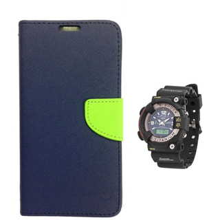 Wallet Flip case Cover For Samsung Galaxy A7   (BLUE) With Black Dial Analog-Digital Watch-S-SHOCK For Men