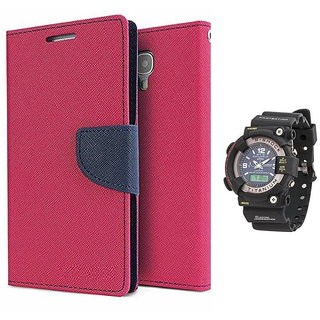 Wallet Flip case Cover For Samsung Galaxy Note I9220   (PINK) With Black Dial Analog-Digital Watch-S-SHOCK For Men