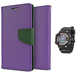 Wallet Flip case Cover For Nokia Lumia 520  (PURPLE) With Black Dial Analog-Digital Watch-S-SHOCK For Men