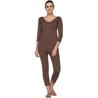 Vimal Premium Cotton Blended Brown Thermal Top & Bottom Set For Women