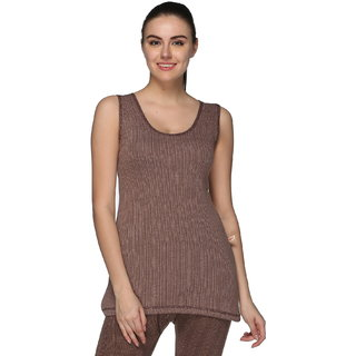 Vimal Premium Cotton Blended Brown Thermal Sleeveless Top For Women