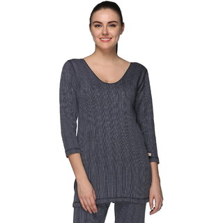 Vimal Premium Cotton Blended Navy Blue Thermal Top For Women