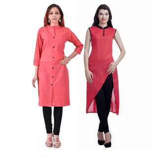 Chigy Whigy Red Cotton Combo Of 2 Kurti