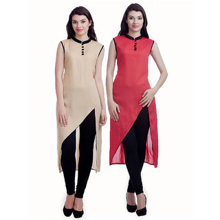 Chigy Whigy Beige And Red Cotton Combo Of 2 Kurti