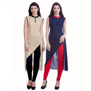 Chigy Whigy Beige And Blue Cotton Combo Of 2 Kurti