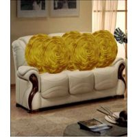 Deal Wala Set Of 5 Attractive Circle Rose Design Cushion Cover-yellow