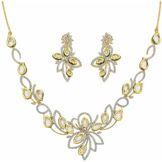 The Art Jewellery Vilandi With American Diamond Set In Floral Design