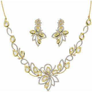 The Art Jewellery Vilandi With American Diamond Set In Floral Design
