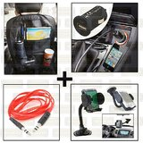 Back Seat Organiser With Mobile Holder, Usb Charger & Aux Cable