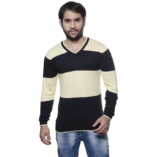 AMX Multicolor Striped V-Neck Long Sleeve Pullover For Men's