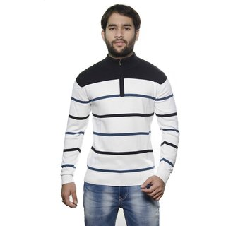 AMX Multicolor Striped High Neck Long Sleeve Pullover For Men's