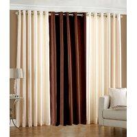 Deal Wala Set Of 2 Cream And 1 Brown Eyelet Door Curtain