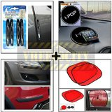 Compact Door Guard Black & Black Bumper Guard & I Pop Sticky Pad & Stick On Sunshade Red Set Of 2 Pcs.