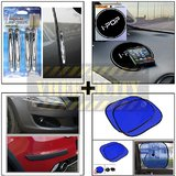 Compact Door Guard Silver & Black Bumper Guard & I Pop Sticky Pad & Stick On Sunshade Blue Set Of 2 Pcs.