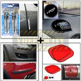 Compact Door Guard Silver & Black Bumper Guard & I Pop Sticky Pad & Stick On Sunshade Red Set Of 2 Pcs.