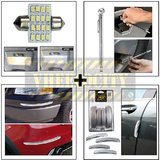 16 Smd Roof Light & Chrome Pen Type Pressure Gauge & Chrome Bumper Guard & I Pop Door Guard Silver