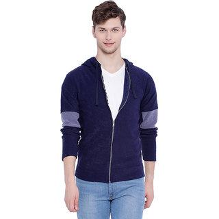 Campus Sutra Blue Hooded Sweatshirt