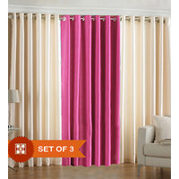 Deal Wala Pack Of 2 Cream And 1 Dark Pink Eyelet Door Curtain